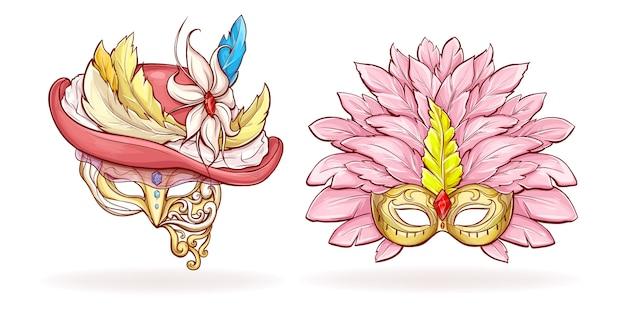 Mardi gras luxuoso cara máscaras dos desenhos animados
