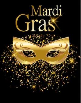 Mardi gras máscara de carnaval dourada