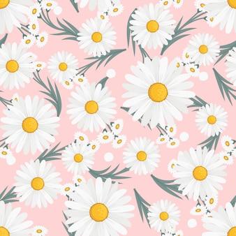 Margarida branca flores grinalda hera estilo com galho e folhas, padrão sem emenda