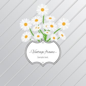 Margarida flores e cartão de rótulo vintage