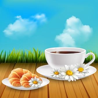 Margarida realista café da manhã composição