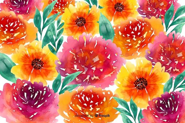 Margaridas e rosas em aquarela fundo floral
