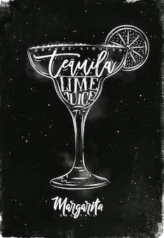 Margarita cocktail com letras no estilo lousa