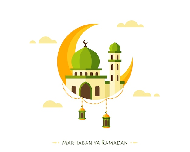 Marhaban ya ramadan background com elementos de crescente e mesquita