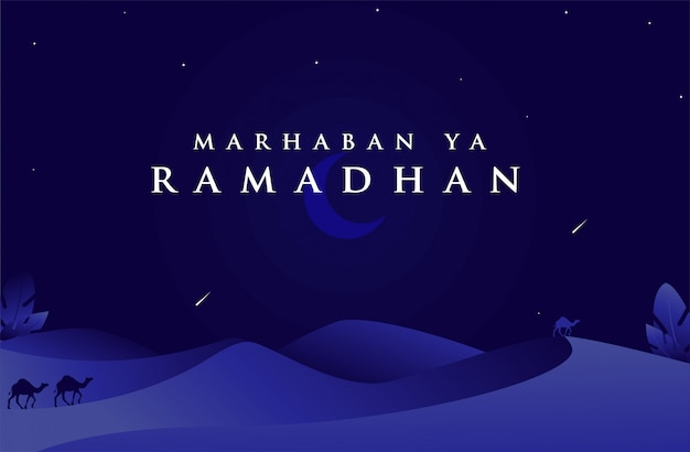 Marhaban ya ramadan fundo islâmico com deserto na cor azul escuro