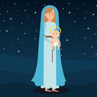 Maria virgem com jesus bebê na noite