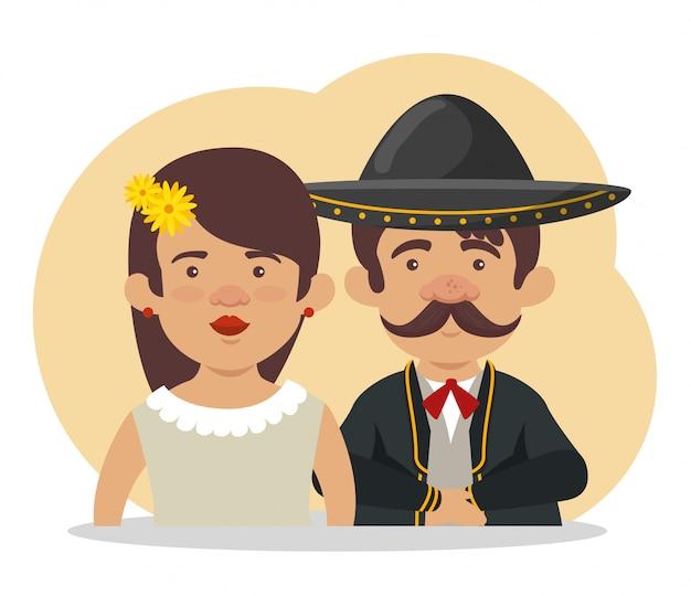 Mariachi com mulher para o dia da celebração dos mortos
