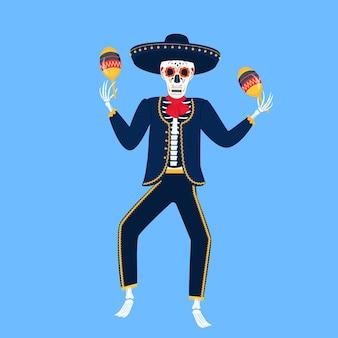 Mariachi. esqueleto engraçado joga em maracas. caveira de açúcar para o dia dos mortos.