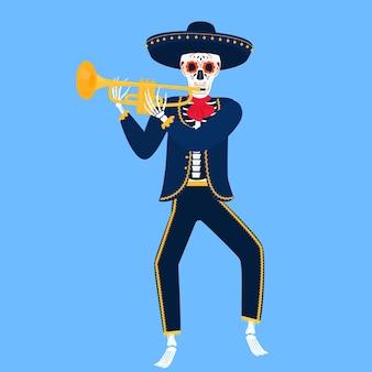 Mariachi. esqueleto engraçado toca trombeta. caveira de açúcar para o dia dos mortos.