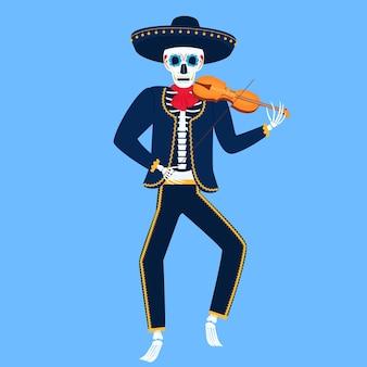 Mariachi. esqueleto engraçado toca violino. caveira de açúcar para o dia dos mortos.