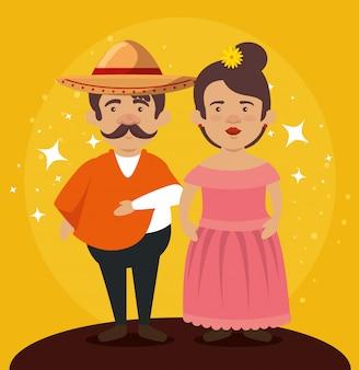 Mariachi homem com mulher para comemorar o dia dos mortos