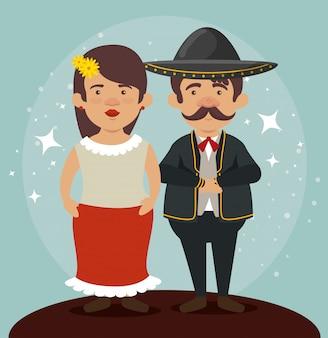 Mariachi homem e mulher para comemorar o dia dos mortos