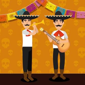 Mariachi homens com guitarra e banner de festa