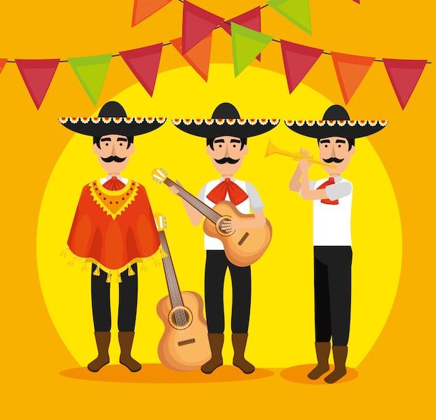 Mariachi homens com instrumentos e banner de festa