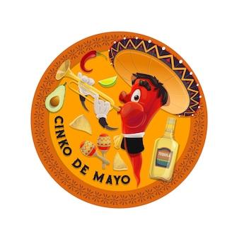 Mariachi jalapenos em sombrero mexicano tocando trompete