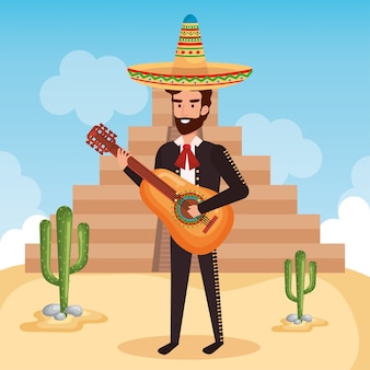 Mariachi mexicano com personagem de guitarra
