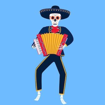 Mariachi. um esqueleto engraçado toca acordeão. caveira de açúcar para o dia dos mortos.