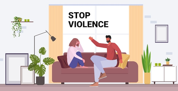 Marido bravo socando e batendo na esposa pare a violência doméstica e a agressão contra as mulheres
