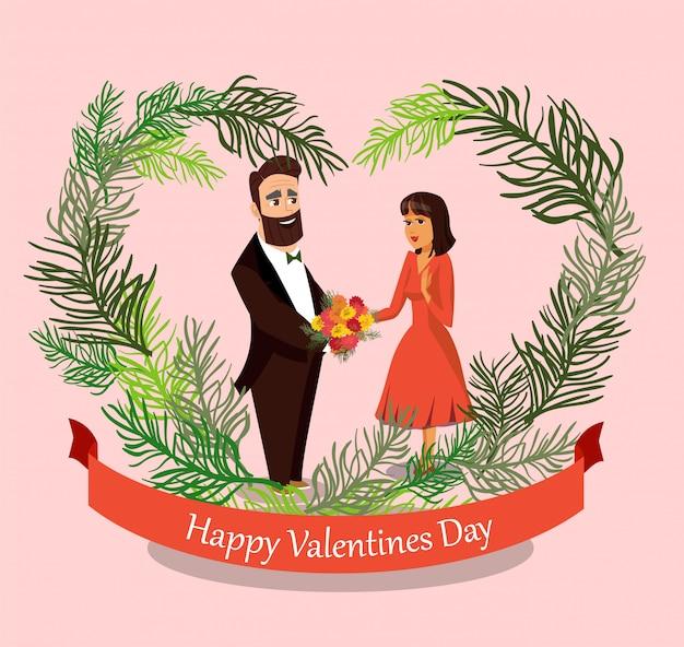 Marido dando flores para a esposa design element.