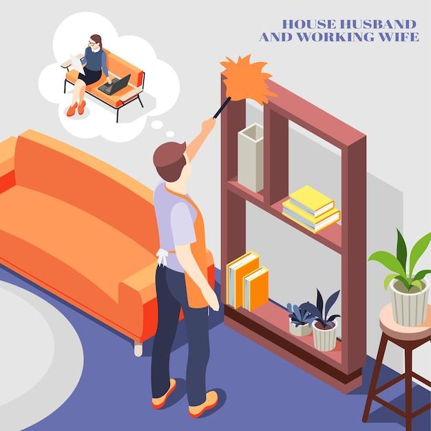 Marido de casa pensando em trabalhar com a esposa enquanto tira o pó dos móveis da composição isométrica de casa