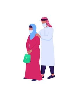 Marido e mulher árabes com máscaras médicas personagens sem rosto de cor lisa