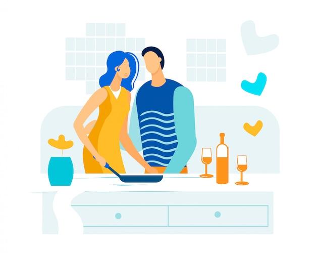 Marido e mulher cozinham juntos plana.