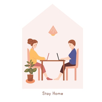 Marido e mulher trabalhando em casa. ficar em casa conceito