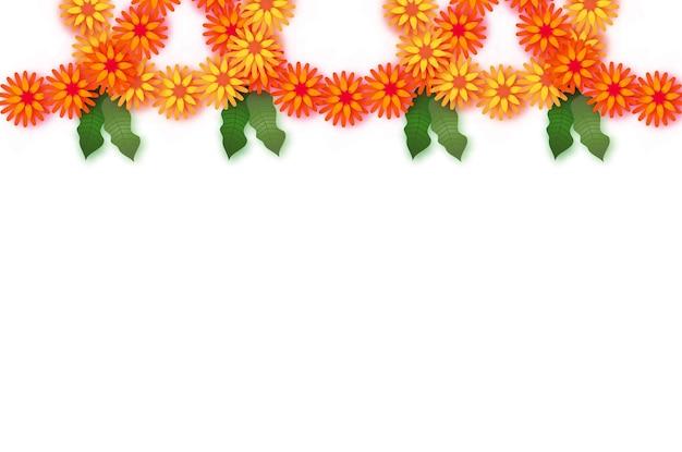 Marigold. festão da folha verde. flor de corte de papel laranja amarelo. folha de flor e manga festival indiano. feliz diwali, dasara, dussehra, ugadi. elementos decorativos para celebração indiana. vetor.
