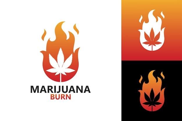Marijuana burn logo template vector premium