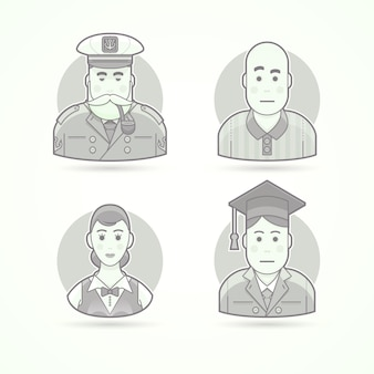Marinheiro, cachorro do mar, árbitro de futebol, garçonete, homem de pós-graduação. conjunto de ilustrações de personagem, avatar e pessoa. estilo descrito preto e branco.