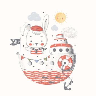 Marinheiro coelhinho fofo no navio ilustração em vetor desenhado à mão dos desenhos animados pode ser usado para o bebê