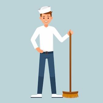 Marinheiro com uma escova de chão.