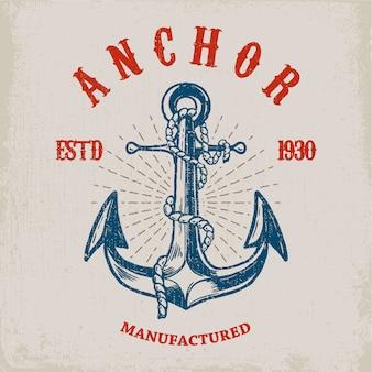 Marinheiro corajoso. mão desenhada âncora no fundo grunge. elemento para cartaz, cartão, camiseta. ilustração