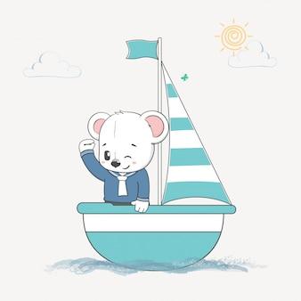 Marinheiro de urso bonito na mão de desenhos animados de barco desenhada