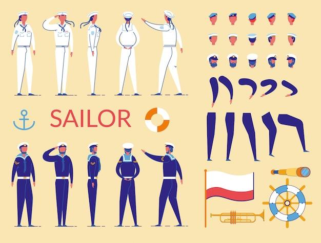 Marinheiro homem caracteres construtor de uniforme.