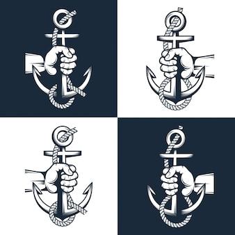 Marinheiro mão segura uma âncora com corda