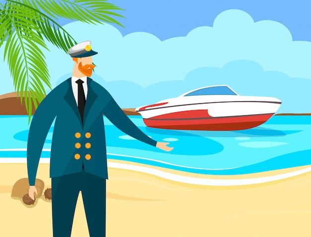 Marinheiro marinho com barba de gengibre em boné e uniforme