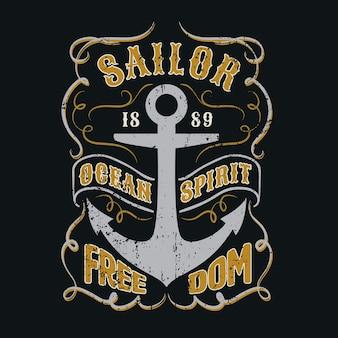 Marinheiro oceano espírito gráfico para vestuário