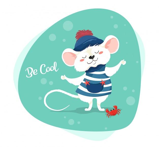 Marinheiro pequeno bonito em um colete listrado e chapéu com um slogan - seja legal. personagem em estilo cartoon. desenho de bebê fofo mouse