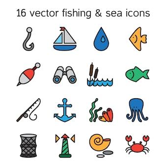 Marinho isolado e ícones da pesca ajustados.
