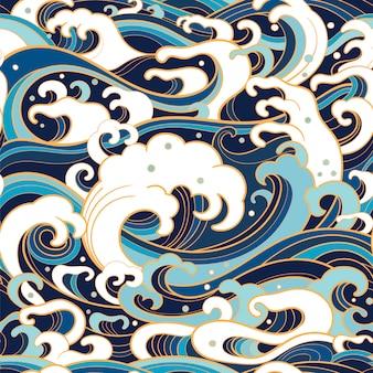 Marinho padrão sem emenda com ondas de água