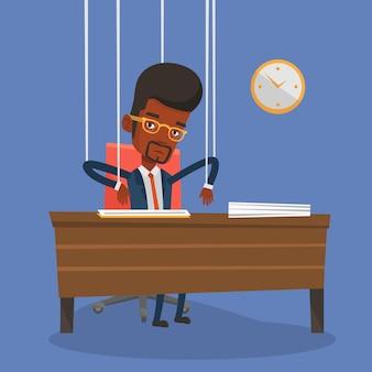 Marionete de empresário em cordas trabalhando.