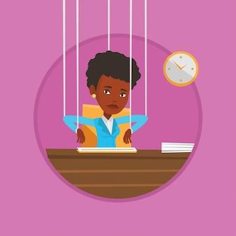 Marionete de mulher de negócios em cordas trabalhando.