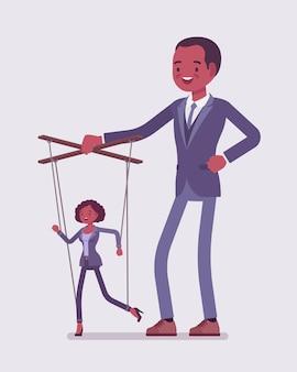 Marionete negra marionete manipulada e controlada por titereiro