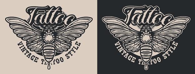 Mariposa ilustrações em preto e branco no estilo tatuagem