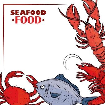 Marisco, peixe, camarão, lagosta e caranguejo, menu, poster gourmet, fresco