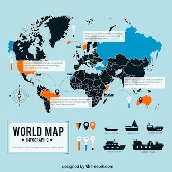 Maritim mapa do mundo infográfico