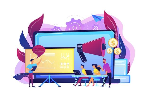 Marketeers aprendendo com outros profissionais em meetup com quadro de apresentação. encontro de marketing, compartilhamento de experiência, conceito de expertise em marketing. ilustração isolada violeta vibrante brilhante