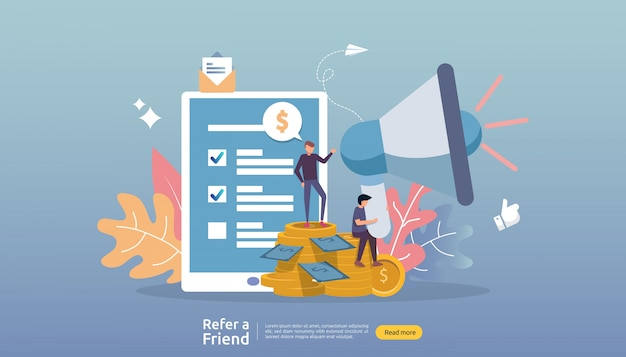 Marketing afiliado . indique uma estratégia de amigo. pessoas personagem gritar megafone compartilhando parceria de negócios de referência e ganhar dinheiro.