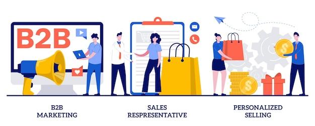 Marketing b2b, representante de vendas, conceito de vendas personalizadas